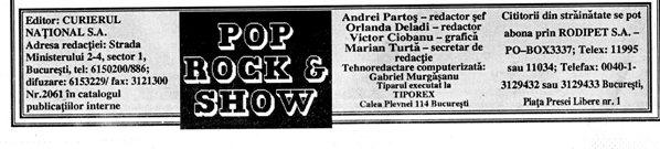 POP ROCK & SHOW, caseta tehnică din 1993