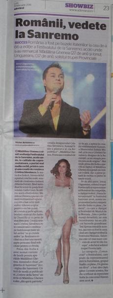 Adevarul Festivalul Sanremo Ionut Ungureanu Madalina Ghenea