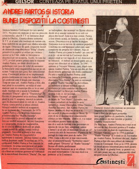 ANDREI PARTOS - ISTORIA BUNEI DISPOZITII LA COSTINESTI 1998 a