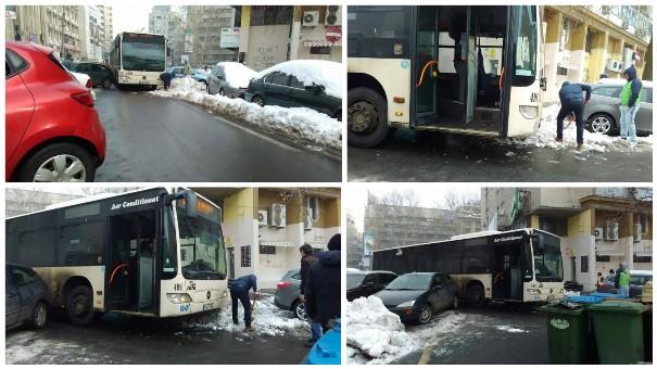 soferi din Bucuresti iarna trafic a