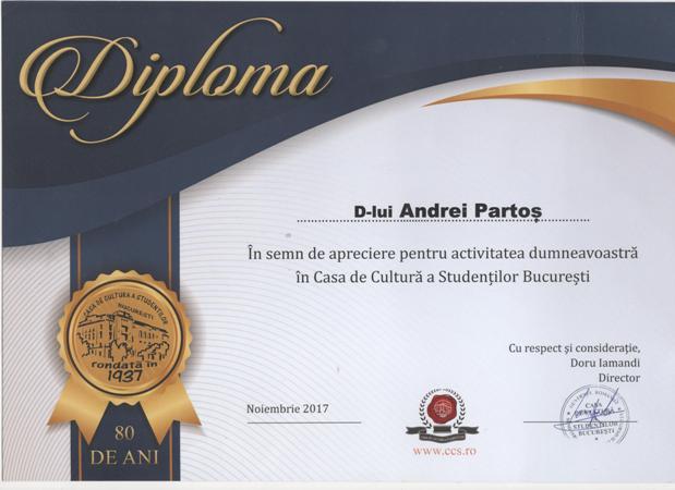 diploma Andrei Partos Casa Studentilor Bucuresti