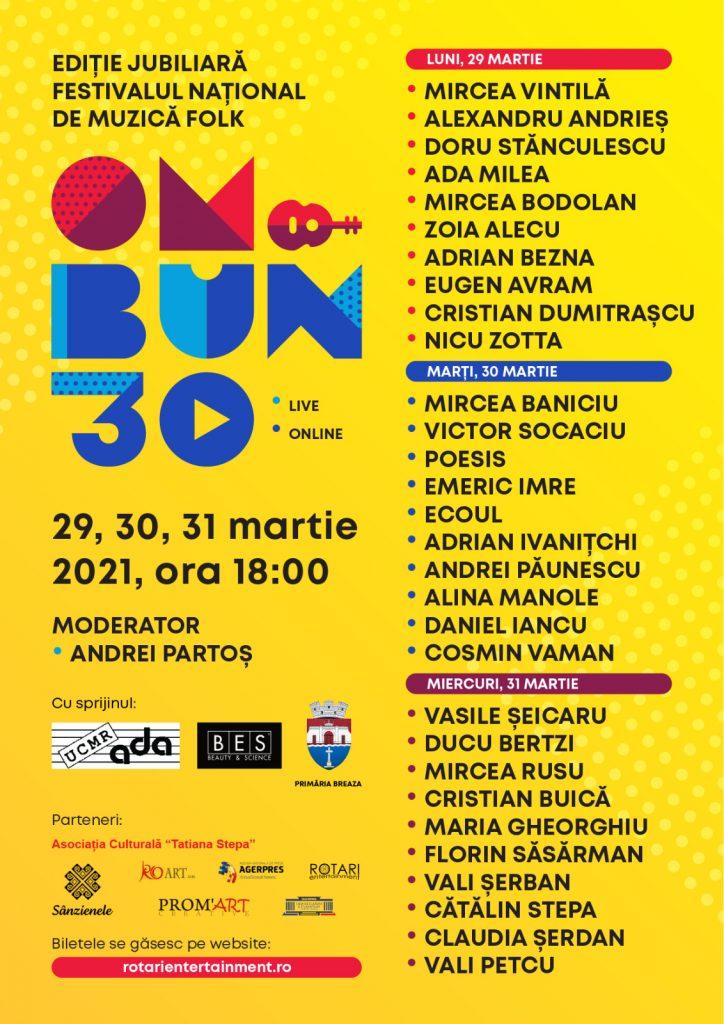"""Festivalul """"Om Bun 30"""" are loc în perioada 29 - 31 martie"""