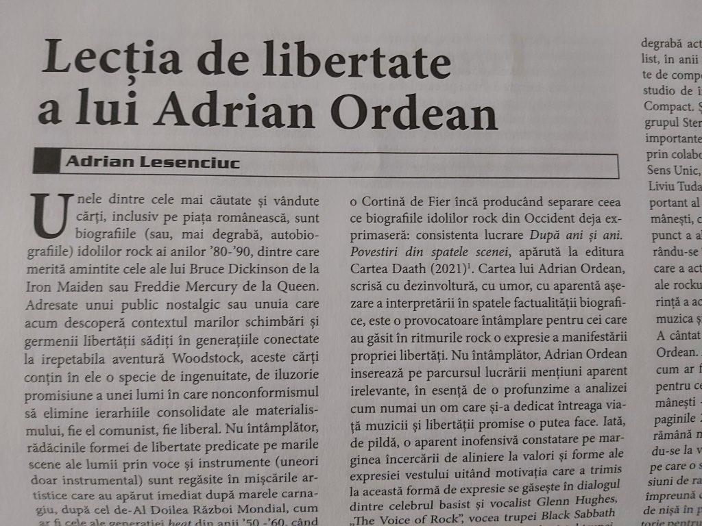 """""""Lecţia de libertate a lui Adrian Ordean"""" #recenzie de Adrian Lesenciuc"""