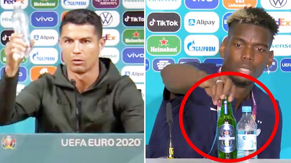Cristiano Ronaldo refuză Coca Cola, Paul Pogba refuză Heineken - VIDEO