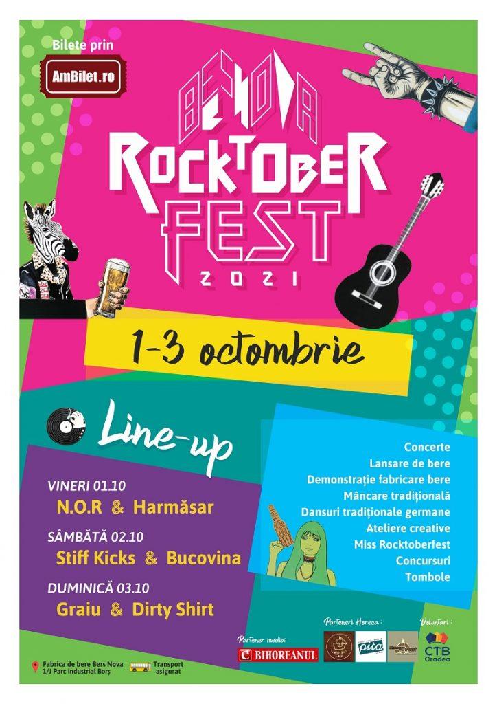 Dirty Shirt, Bucovina, Harmăsar, Graiu, N.O.R. și Stiff Kicks participă la Rocktoberfest 2021 (1 - 3 octombrie, Oradea)