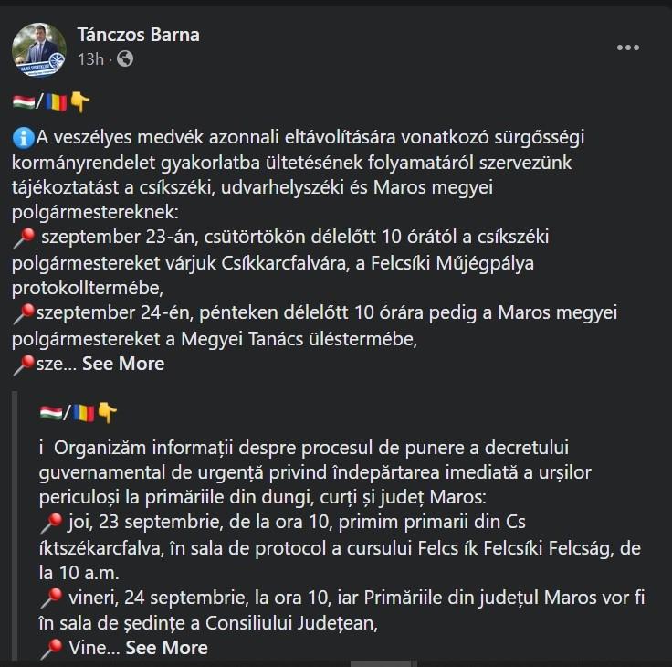 Ministrul Mediului, Tánczos Barna, comunică pe Facebook cu vecinii din Ungaria